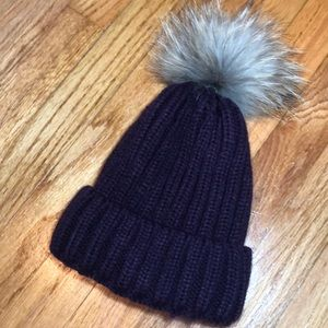 Cranberry beanie with rabbit fur poof